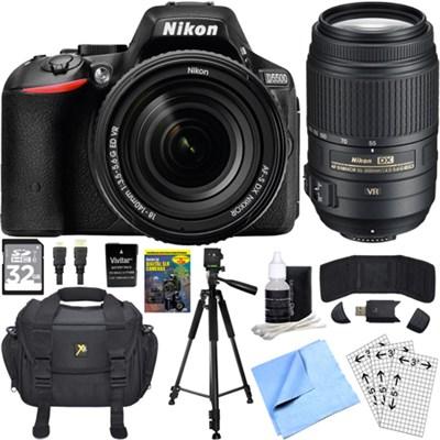 D5500 Black DSLR Camera 18-140mm Lens, 55-300 Lens, 32GB, and Battery Bundle
