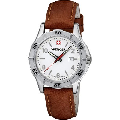 Ladies' Platoon Analog Watch - White Dial/Brown Leather Strap