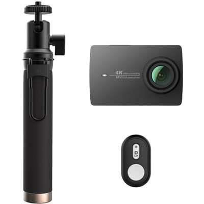 4K Action Camera with Selfie Stick & Bluetooth Remote (US Edition) Night Black
