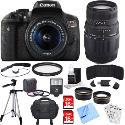 EOS Rebel T6i Digital SLR Camera w/EF-S 18-55mm + 70-300mm Telephoto Lens Bundle