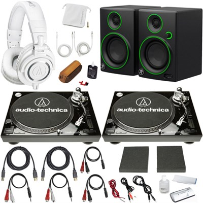 Professional Dual LP120USB Turntable Pro DJ Headphones/Speaker Bundle (Black)