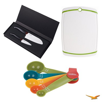 Revolution Paring and Santoku Knife Set, Cutting Board, and Spoon Set Bundle