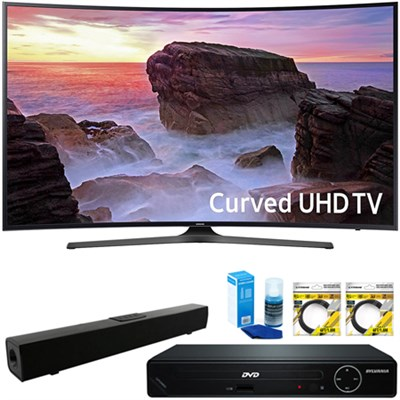 Curved 55` 4K UHD Smart LED TV 2017 + HDMI DVD Player&Sound Bar Bundle