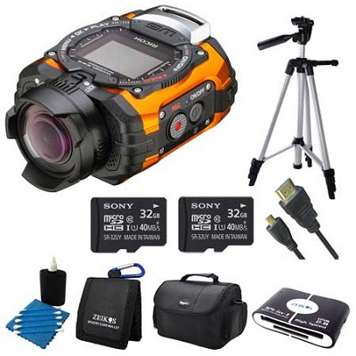 WG-M1 Compact Waterproof Action Digital Camera Kit - Orange Adventure Bundle