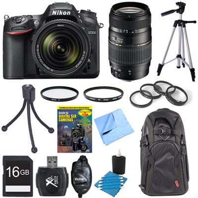 D7200 DX-format Black Digital SLR Camera w/ 18-140mm and 70-300mm Lens Bundle