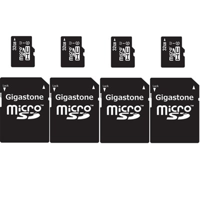 4-Pack - 32GB Class 10 U1 MicroSD Memory card with SD Adapter - 128GB Total