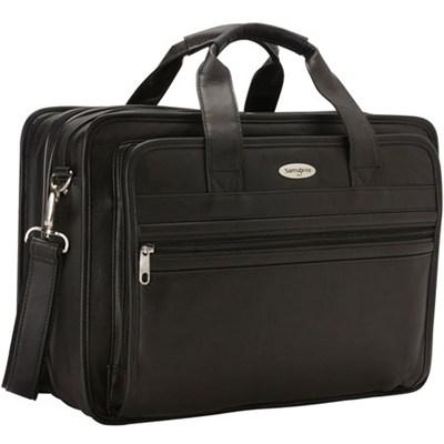 Leather Expandable Computer Briefcase - Black