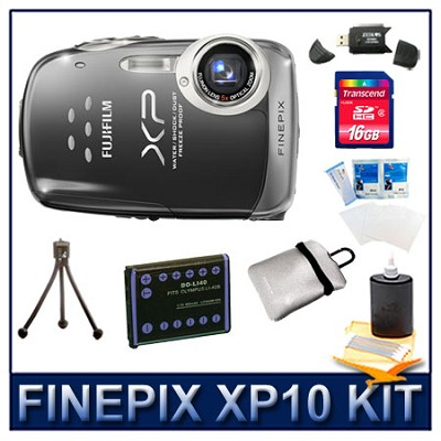 FINEPIX XP10 Black + 16GB Memory Card + Card Reader + Battery + Case + More