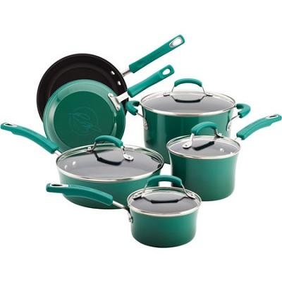 Porcelain Enamel II Nonstick 10-Piece Cookware Set, Fennel Gradient