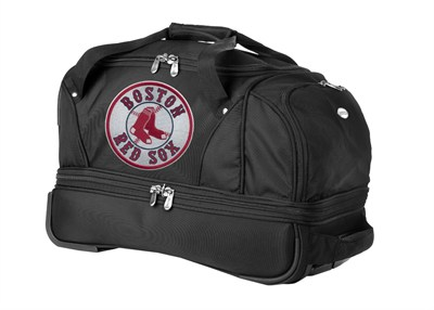 MLB 22-Inch Drop Bottom Rolling Duffel Luggage, Black - Boston Red Sox