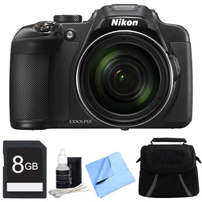 COOLPIX P610 16MP 60x Super Zoom HD, WiFi, GPS Digital Camera 8GB Bundle - Black