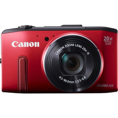 PowerShot SX280 HS Red Digital Camera with 20x Opt. Zoom, 1080p Video, Wi-Fi