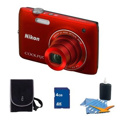 COOLPIX S4100 14MP Red Digital Camera 4GB Bundle