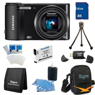 WB150F 14 MP 18X Wi-Fi Digital Camera - Black 16gb Deluxe Bundle