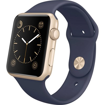 Watch Sport 42mm Gold Aluminum Case with Blue Sports Band, Refurbished