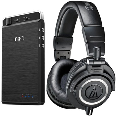 ATH-M50X Professional Studio Headphones (Black) Android Phone USB DAC/AMP Bundle