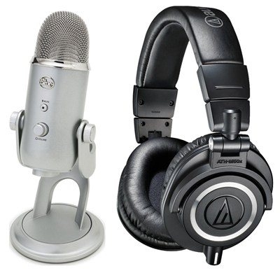 ATH-M50X Headphones + Blue Yeti USB Microphone Bundle Deal