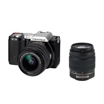 K-01 Digital SLR Black 16 MP Camera w/ DA 18-55mm and 50-200mm Lens Bundle