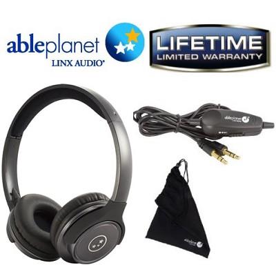 SH190 Travelers Choice Stereo Headphones w/ LINX AUDIO & Inline Volume-Gun Metal