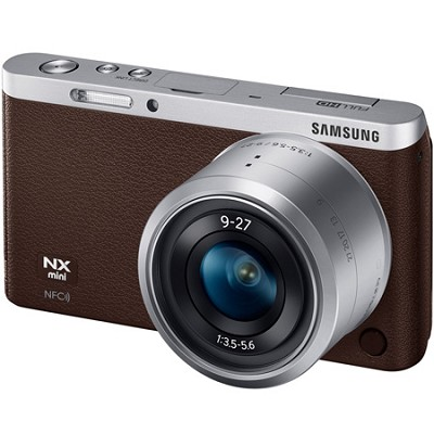 NX Mini Mirrorless Digital Camera with 9-27mm Lens and Flash - Brown
