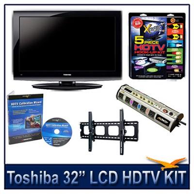 32` 720p LCD HDTV + Hook-up Kit + Power Protection + Calibration + Tilt Mount