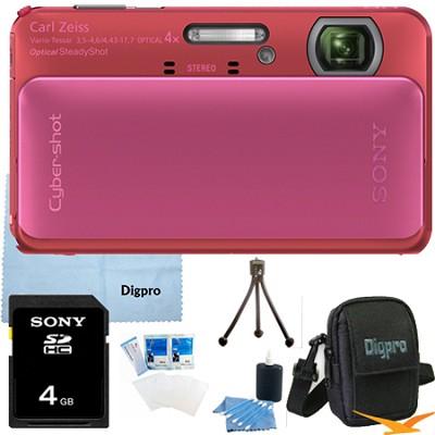 Cyber-shot DSC-TX20 16.2 MP Waterproof Shockproof Camera (Pink) 4GB Bundle