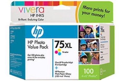 75XL Photo Value Pack color ink + 100 Sheets 4x6 paper