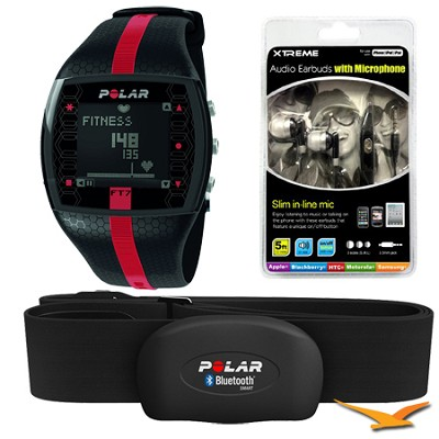 FT7  Heart Rate Monitor Watch - Black/Red Bundle