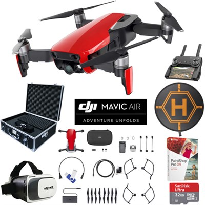 Mavic Air Flame Red Drone Pro Photo Edit Bundle Case VR Goggles Landing Pad 32GB