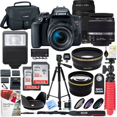 EOS Rebel T7i DSLR Camera w/ EF-S 18-55mm & EF 75-300mm Lens + 64GB Kit