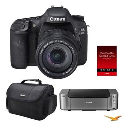 EOS 7D DSLR Camera 18-135mm Lens / Pro 100 Printer / 50-pack Paper / Case