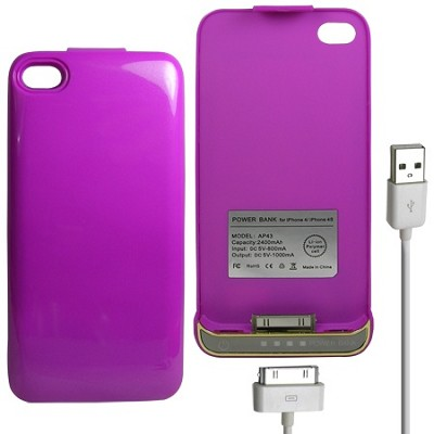 iPhone 4/4S Battery Case 2400mAh - Purple