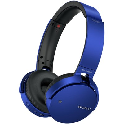MDR-XB650BT Wireless Bluetooth Headphones w/ Extra Bass - Blue - OPEN BOX