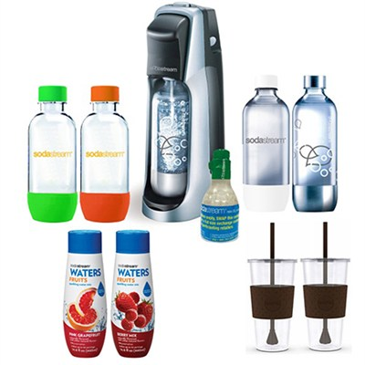 Fountain Jet Soda Maker in Black with Exclusive Kit 4 Bottles & Mini CO2