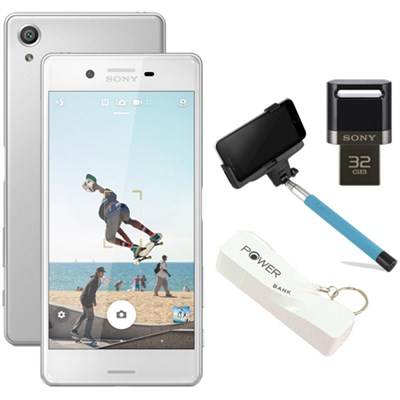 Xperia X 32GB 5` Smartphone Unlocked Mobile Selfie Bundle - White