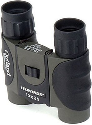 Outland 10X25 Compact Waterproof Binoculars with Rubber Covering & Comfort Grip
