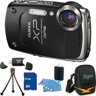 FINEPIX XP30 14 MP Waterproof Digital Camera (Black) with 8 GB Bundle