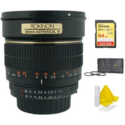 85mm f/1.4 Aspherical Lens for Nikon DSLR Cameras w/ 64GB Memory Bundle