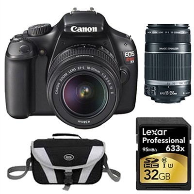EOS Rebel T3 SLR Digital Camera w/ 18-55mm & 55-250mm Instant Rebate Bundle