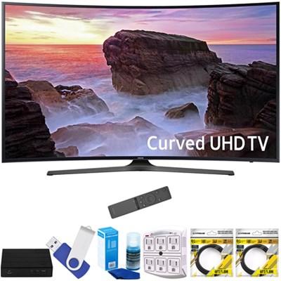 Curved 55` 4K Ultra HD Smart LED TV 2017 Model with Terk Tuner Bundle