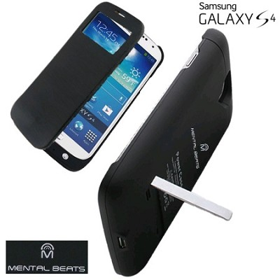 Battery Case with Protective Screen Cover For Samsung Galaxy S4 - Black
