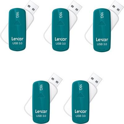16 GB JumpDrive S33 USB 3.0 Flash Drive (Teal) 5-Pack (80GB Total)
