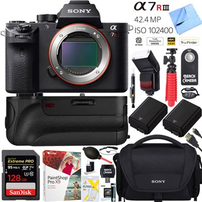 a7R III 42.4MP Mirrorless Camera Body(ILCE7RM3/B)+64GB Grip Super Bundle