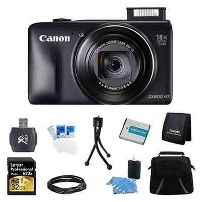 PowerShot SX600 HS 16.1MP 18x Zoom 3-inch LCD Black Ultimate Bundle