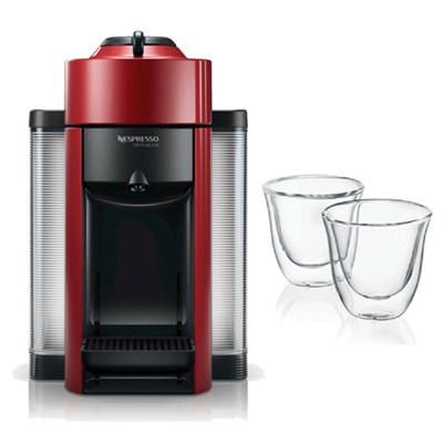 Red Vertuoline Evolu GCC1 Espresso Maker/Coffee Maker and 2 Glasses Bundle