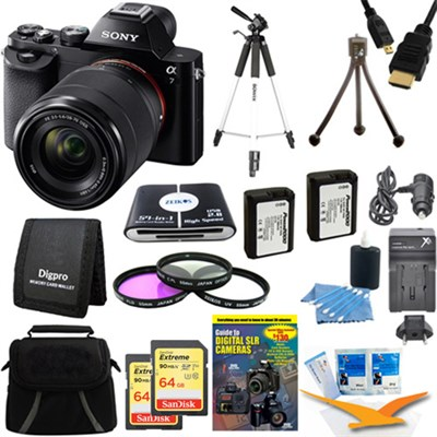 Alpha 7K a7K Digital Camera and 2 64 GB SDXC Cards and 2 Batteries Bundle