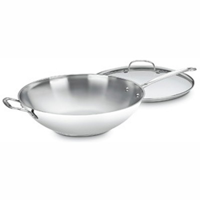 726-38H Chef's Classic Stainless 14` Stir-Fry Pan w/ Helper Handle & Glass Cover