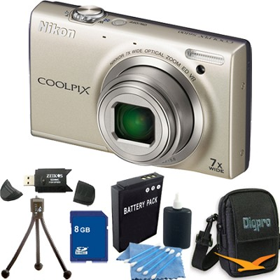 COOLPIX S6300 16MP Silver Digital Camera 8GB Bundle