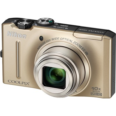 COOLPIX S8100 12.1 Megapixel Gold Digital Camera w/ 1080p HD Video