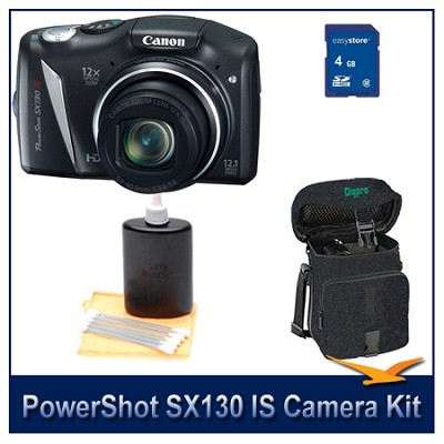 Powershot SX130 IS Camera 4GB Bundle w/ Case and Cleaning Kit